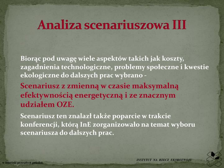 Analiza scenariuszowa III