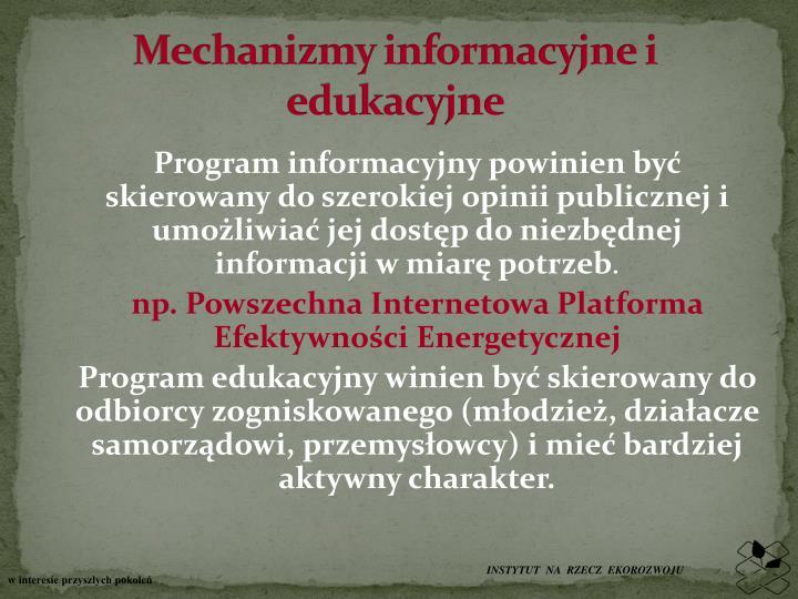Mechanizmy informacyjne i edukacyjne