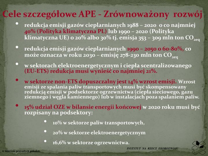 Cele szczegółowe APE - Zrównoważony  rozwój