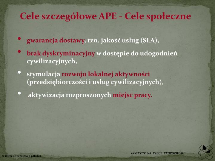 Cele szczegółowe APE - Cele społeczne