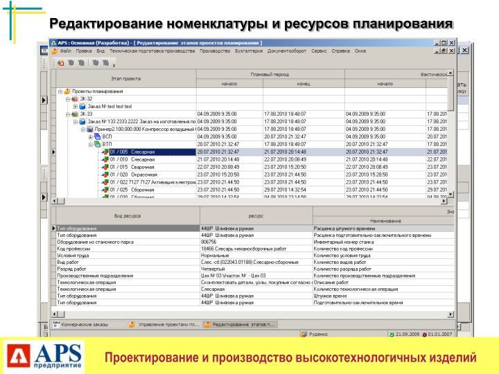 Редактирование номенклатуры и ресурсов планирования