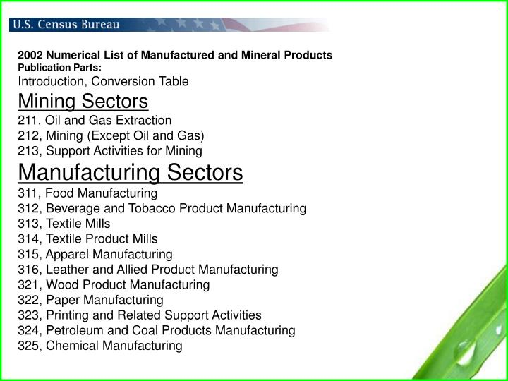 2002 Numerical List of Manufactured and Mineral Products