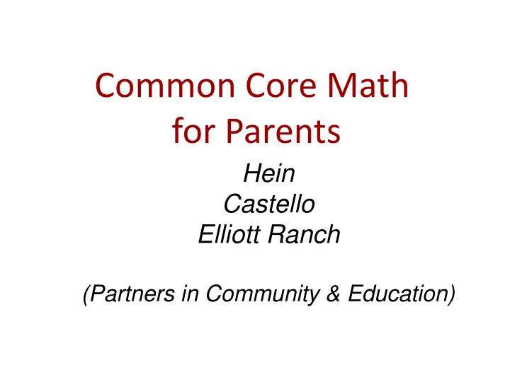 common core math for parents n.