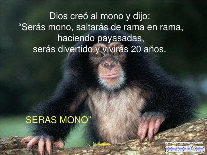Dios creó al mono y dijo: