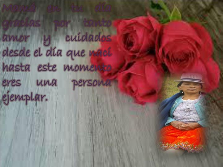 Mamá en tu día gracias por tanto amor y cuidados desde el día que naci  hasta este momento eres u...