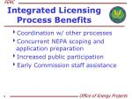 integrated licensing process benefits
