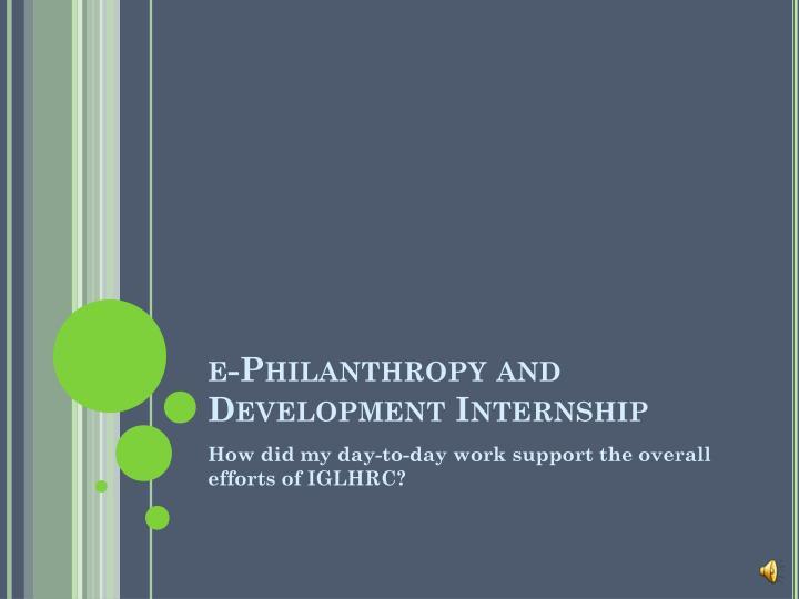 e-Philanthropy and Development Internship