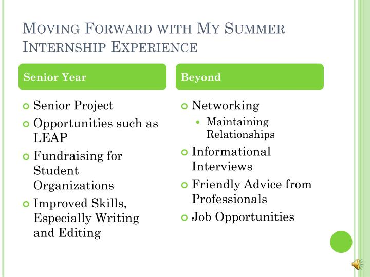 Moving Forward with My Summer Internship Experience