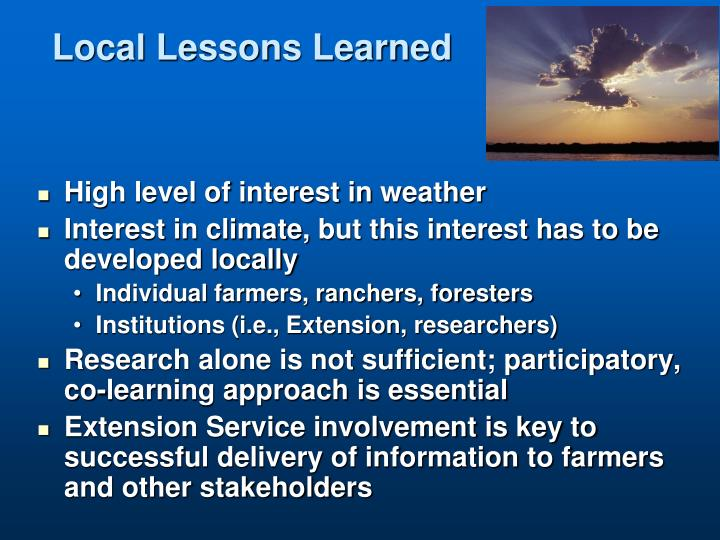 Local Lessons Learned