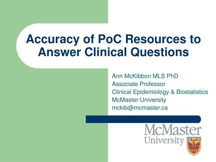 accuracy of poc resources to answer clinical questions n.