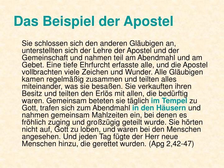 Das Beispiel der Apostel