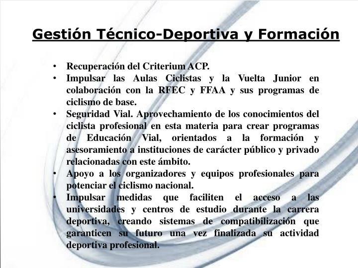 Gestión Técnico-Deportiva y Formación