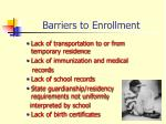 barriers to enrollment