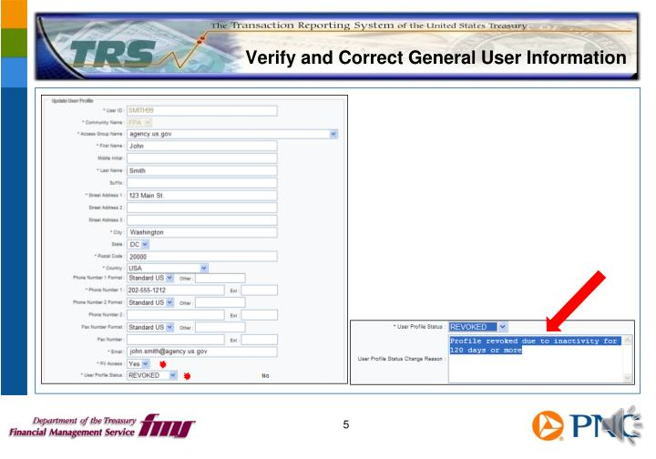 Verify and Correct General User Information