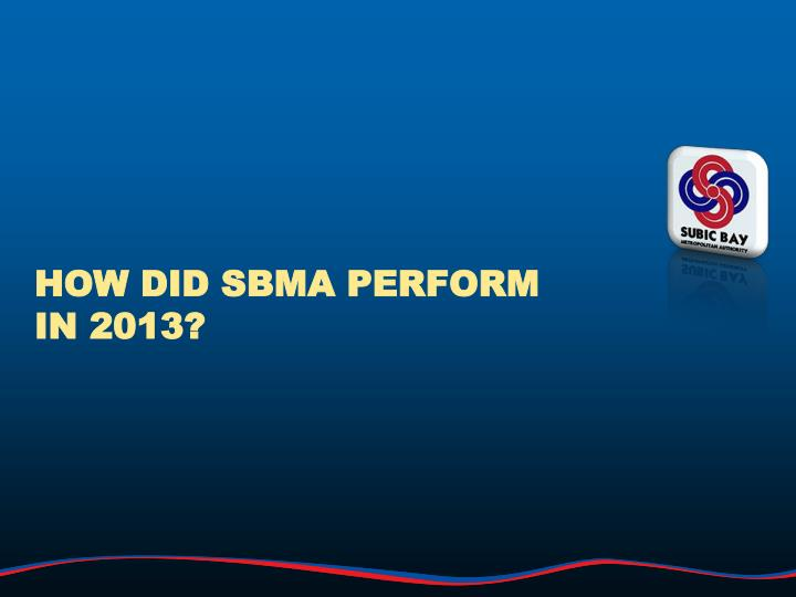 How did sbma perform in 2013