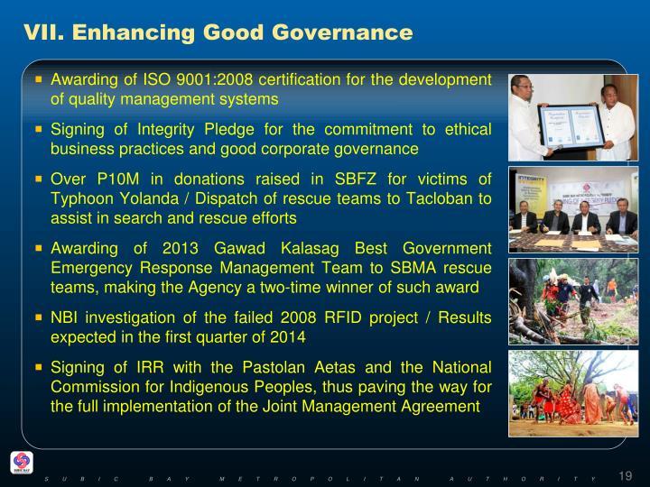 VII. Enhancing Good Governance