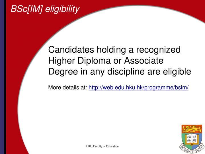 BSc[IM] eligibility