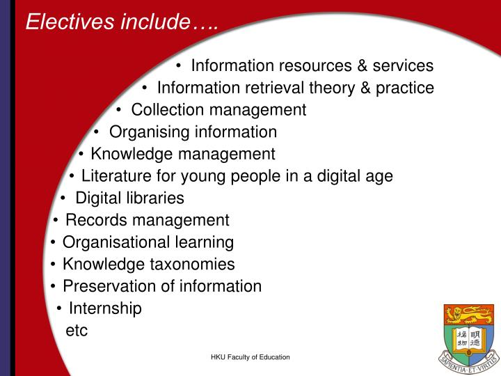 Electives include….