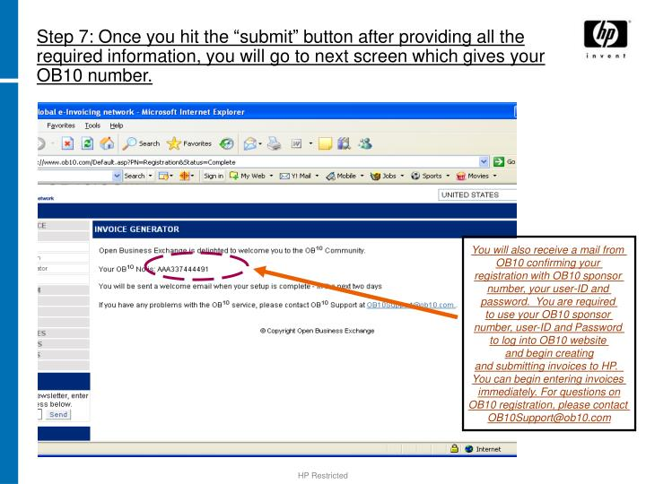 """Step 7: Once you hit the """"submit"""" button after providing all the required information, you will go to next screen which gives your OB10 number."""