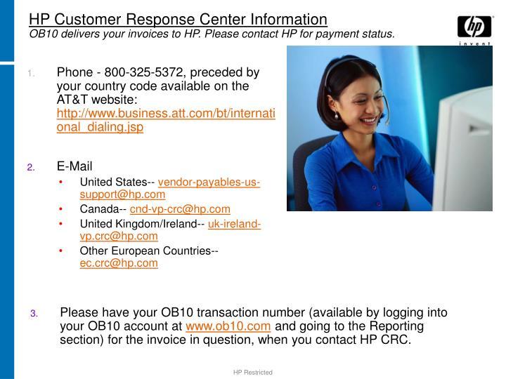 HP Customer Response Center Information