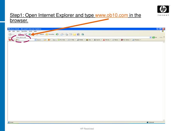 Step1 open internet explorer and type www ob10 com in the browser
