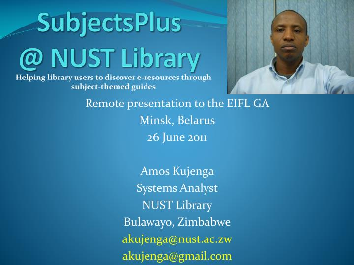 subjectsplus @ nust library n.