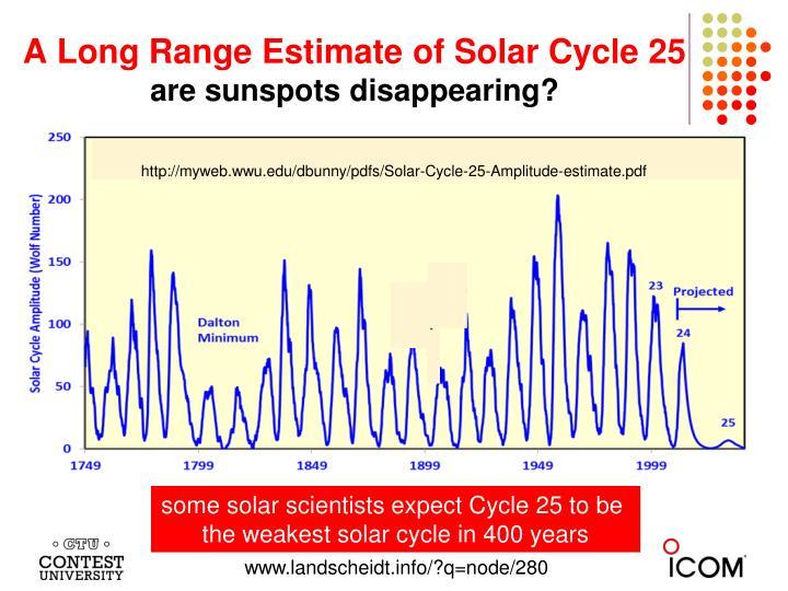 A Long Range Estimate of Solar Cycle 25