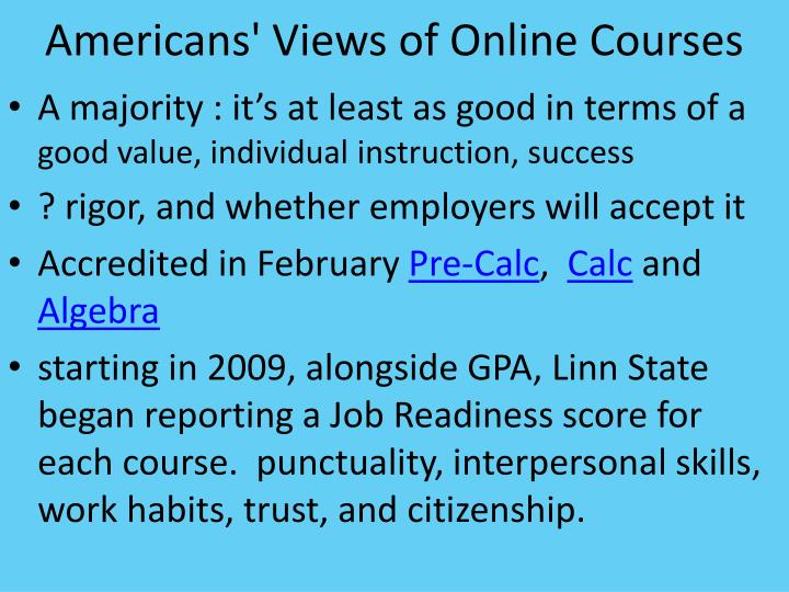 Americans' Views of Online Courses