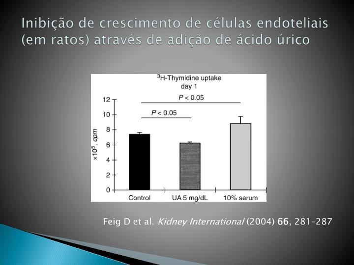 Inibição de crescimento de células endoteliais (em ratos) através de adição de ácido úrico