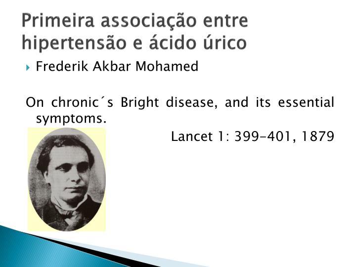 Primeira associação entre hipertensão e ácido úrico