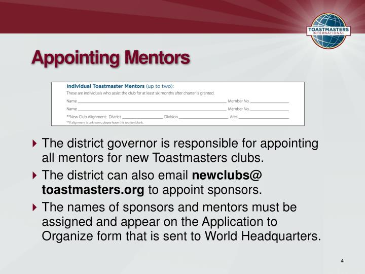 Appointing Mentors