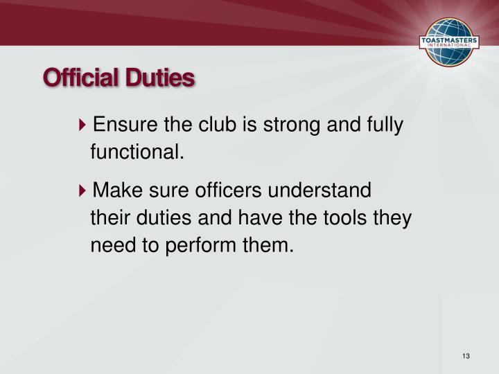 Official Duties