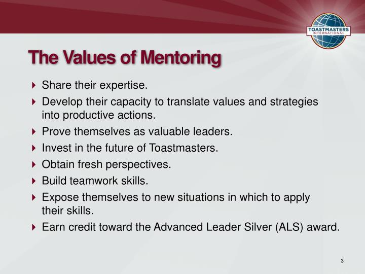The Values of Mentoring