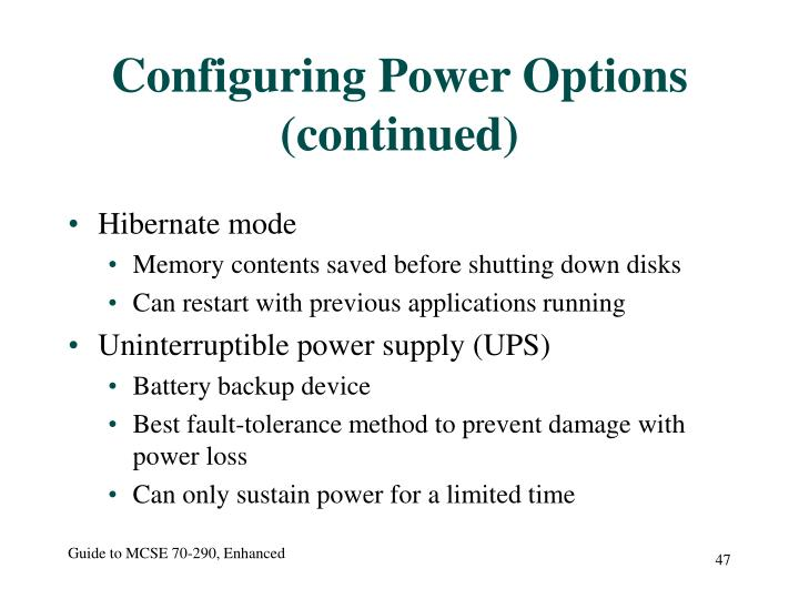 Configuring Power Options (continued)