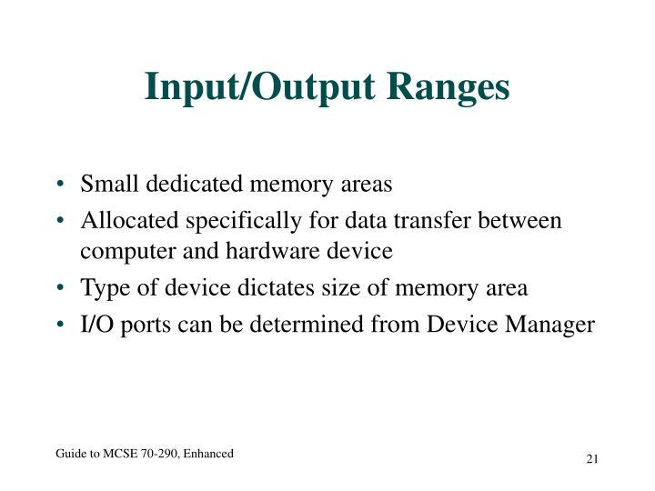 Input/Output Ranges