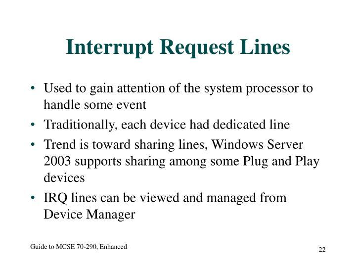 Interrupt Request Lines
