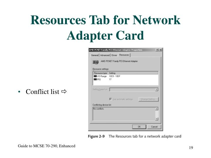 Resources Tab for Network Adapter Card