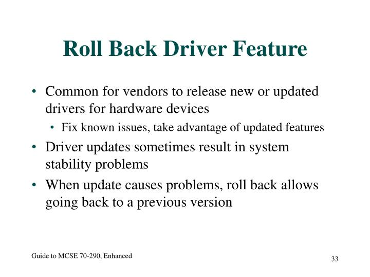 Roll Back Driver Feature