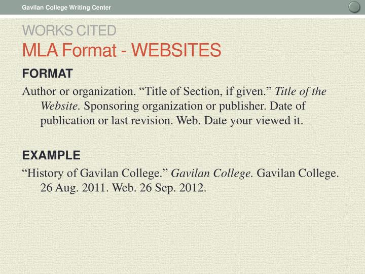 mla format a website Despite mla is simple to master, this convenient mla format citation website will do the whole job for you application area of in text citation mla website our service is not created to write or offer complete essays.