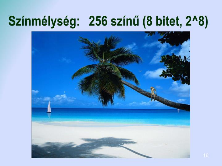 Színmélység:256 színű (8 bitet, 2^8)