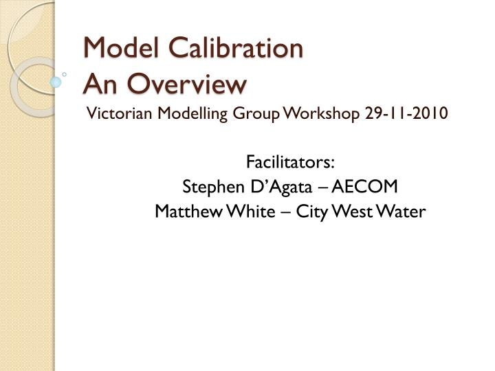 model calibration an overview n.