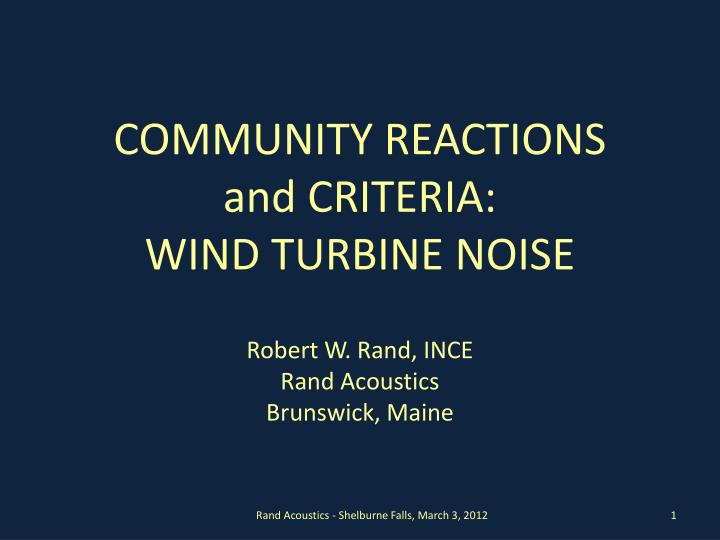community reactions and criteria wind turbine noise
