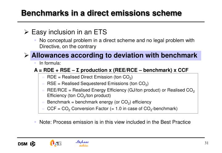 Benchmarks in a direct emissions scheme
