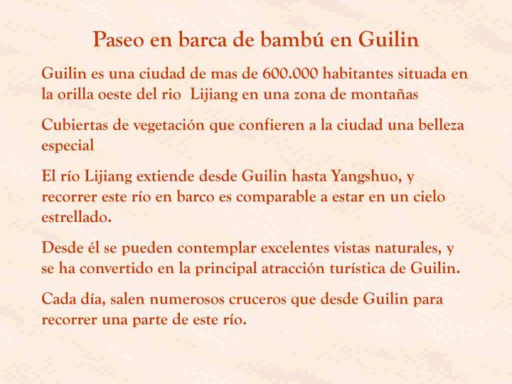 Paseo en barca de bambú en Guilin