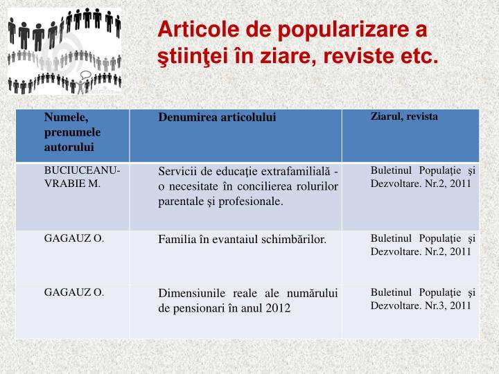 Articole de popularizare a ştiinţei în ziare, reviste etc.