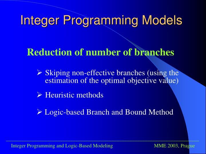 Integer programming models1