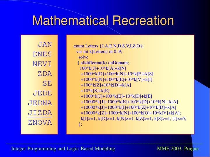 Mathematical Recreation