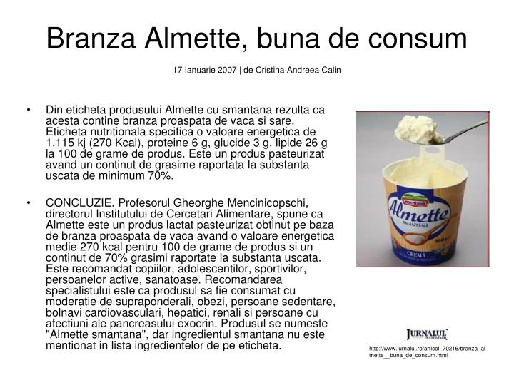 Branza Almette, buna de consum