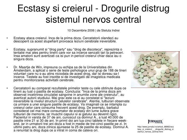Ecstasy si creierul - Drogurile distrug sistemul nervos central