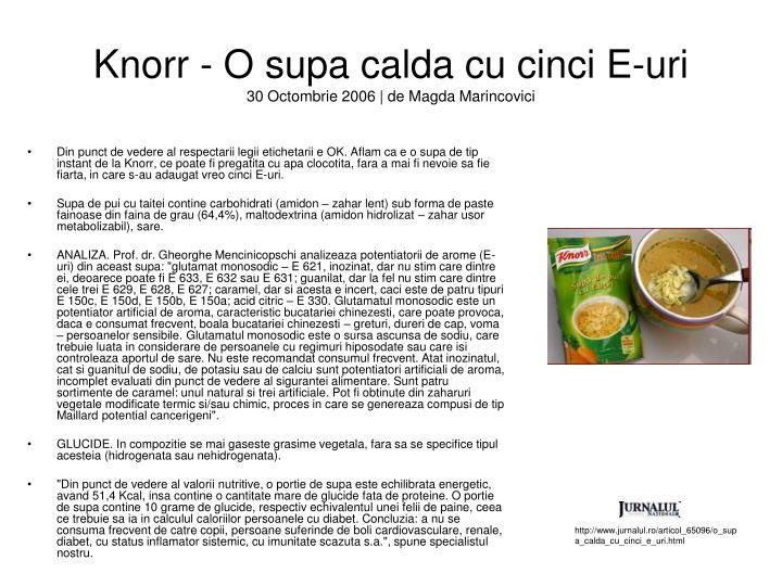 Knorr - O supa calda cu cinci E-uri